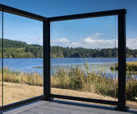 Black Solid Glass Railing - Cullaby Lake, OR