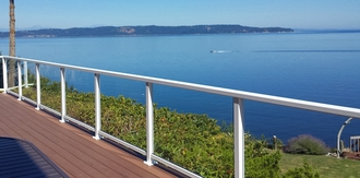 White Aluminum Glass Railing - Seattle, WA