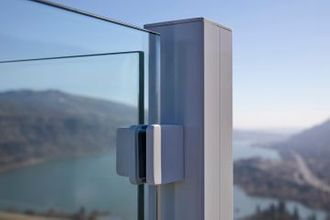 Silver Aluminum Glass Railing - Corbett, OR