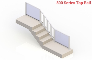 White eGlass Picket™ System - Stair Transition