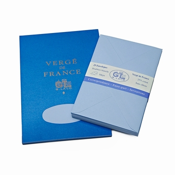 G. Lalo Verge De France Medium Tablet and Envelope Set (5.75 x 8.25) in Blue