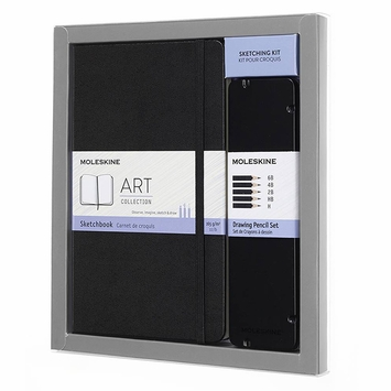 Moleskine Art Collection Sketching Kit (Large SketchBook + Drawing Pencils Set)
