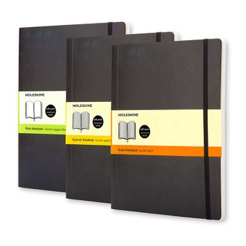 Moleskine Classic Extra Large Soft Cover Notebook (7.5 x 9.75) in Black