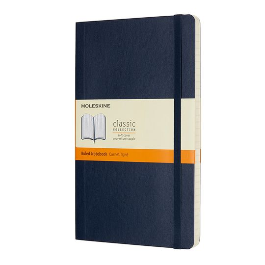 Moleskine Classic Large Soft Cover Notebook (5 x 8.25) ( Sapphire Blue )