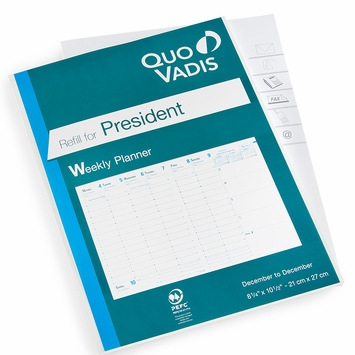 Quo Vadis President Weekly Planner Refill #16 (Ref. #1601) (8.25 x 10.5) 2022