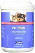 "Davis Pet Wipes, 160 Extra Moist 6"" x 7"" Wipes"