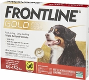 Frontline Gold For Dogs 89-132 lbs, Red 3 Tubes