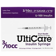 "UltiCare Insulin Syringe U-100 3/10 cc, 31G X 5/16"", 100/Box PURPLE"