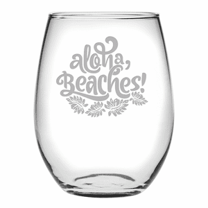 Aloha Beaches Stemless Wine Glasses - S/4