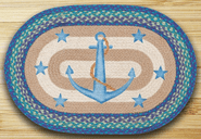 Anchor Stars Oval Patch Braided Rug