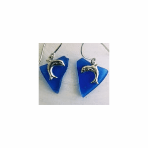 Beach Glass Dolphin Charm Earrings