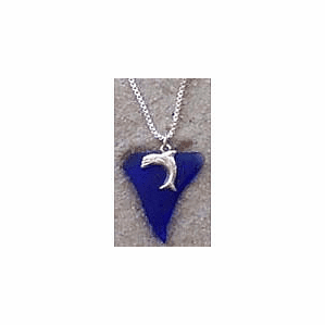 Beach Glass Dolphin Charm Pendant