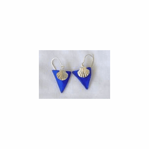 Beach Glass Scallop Shell Charm Earrings