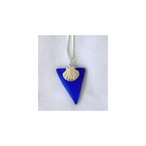 Beach Glass Scallop Shell Charm Pendant