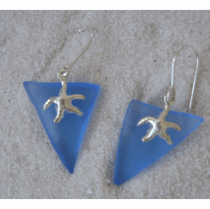 Sea Glass Starfish Charm Earrings