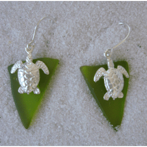 Beach Glass Turtle Charm Earrings