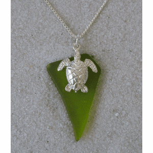 Sea Glass Turtle Charm Pendant