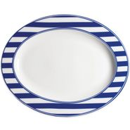 Beach Towel Stripe Blue Large Oval Platter (M)