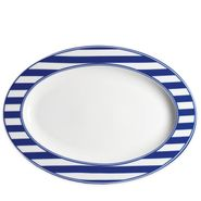 Beach Towel Stripe Blue Medium Oval Platter (M)