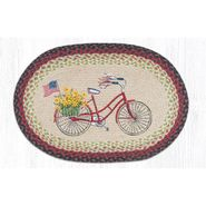 Bicycle with Flag Oval Patch Braided Rug