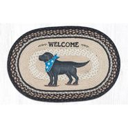 Black Lab Oval Patch Braided Rug