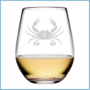 Blue Crab Etched Glassware
