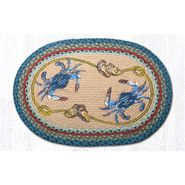 Blue Crabs Oval Patch Braided Rug