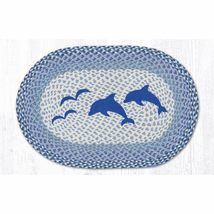 Blue Dolphin Oval Patch Rug