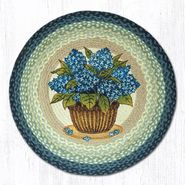 Blue Hydrangea Round Patch Braided Rug