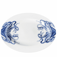 Blue Lucy 14'' Rimmed Oval Platter
