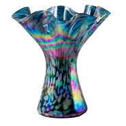 Blue Maize Blown Glass Ruffle Vase