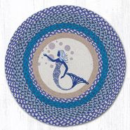 Blue Mermaid Round Patch Braided Rug