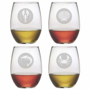 Clambake Emblem Stemless Wine Glasses - S/4