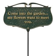 Come into My Garden Poem Sign