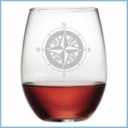 Compass Etched Glassware