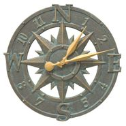 Compass Rose Indoor Outdoor Wall Clock (BV)