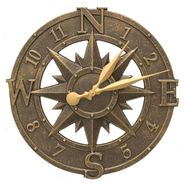 Compass Rose Indoor Outdoor Wall Clock (FB)