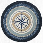 Compass Rose Round Patch Braided Rug