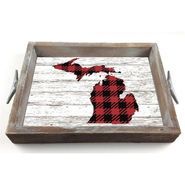 Customizable Red Buffalo Check Serving Tray