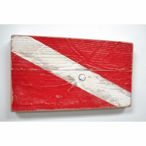 Diver Down Signal Wooden Flag