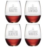 Down the Hatch Assortment Stemless Wine Glasses - S/4
