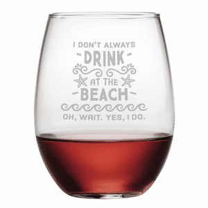 Drink at the Beach Stemless Wine Glasses - S/4