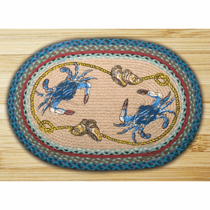 Earth Rugs® Blue Crab Oval Braided Rug