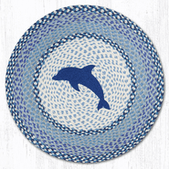 Blue Dolphin Round Patch Braided Rug