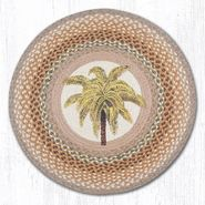 Palm Tree Round Patch Braided Rug