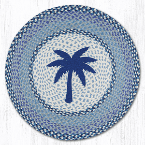 Earth Rugs® Blue Palm Round Braided Rug