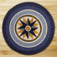 Compass Round Patch Braided Rug