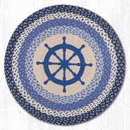 Nautical Wheel Round Patch Braided Rug