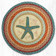 Starfish Round Patch Braided Rug