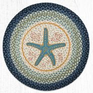 Blue Starfish Round Patch Braided Rug